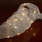 Silver Lined White LED White Sheer Ribbon Garland, 5' long x 2'' wide, Craft Supplies