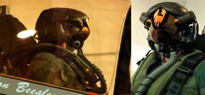 The flight helmet for the F-35 fighter pilot.  Like something you would see in a Japanese anime series like MACROSS.
