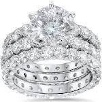 Pompeii 3 - 9ct Diamond Engagement Ring Eternity Guard Wedding Band Set White Gold Enhanced
