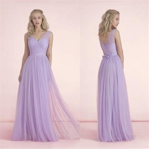2015 Long Light Purple Bridesmaid Dresses V Neck Bow Knot