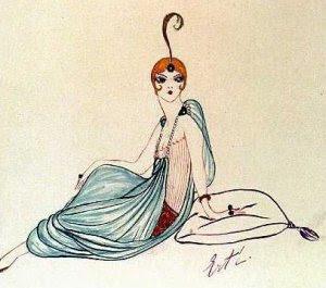 Erte Fashion Sketch with turban and harem pants