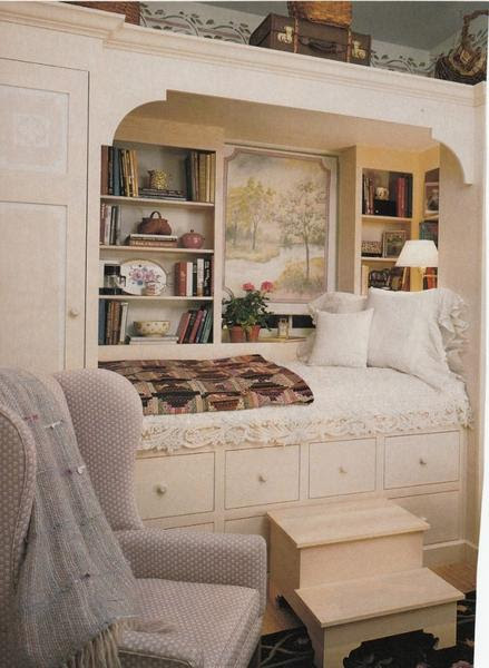 Overhead storage for small rooms.