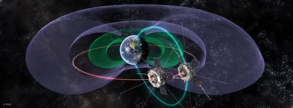 Artist's conception of NASA's Van Allen Probes twin spacecraft. Credit: Andy Kale, University of Alberta