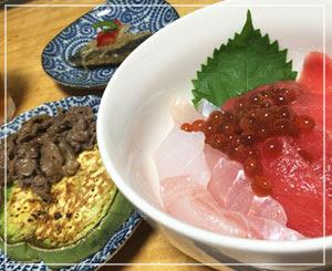 自家製いくらも乗せた、海鮮丼が夕御飯。