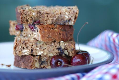healthy cherry banana oatmeal bread
