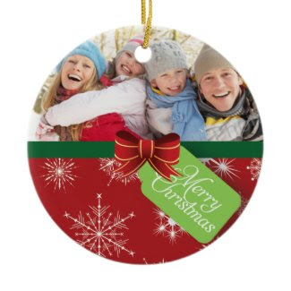 Red Photo Snowflake Merry Christmas Ornaments