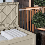Suncast 73-Gallon Resin Outdoor Patio Storage Deck Box with Seat (2 Pack) by VM Express