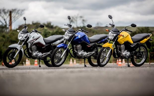 Honda CG 150 Titan, 150 Fan e 125 Fan 2014 (Foto: Raul Zito/G1)