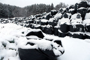 写真:除去した土などを保管する仮置き場は雪に覆われていた=24日午前7時15分、福島県田村市、金子淳撮影