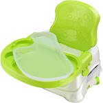 Costway Comfort Folding Booster Seat 3 Height Adjustments Baby Toddlers with Safety Belt Green