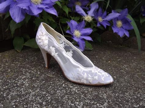 Lace Wedding Shoes, High Heel Bridal Shoes, Floral White