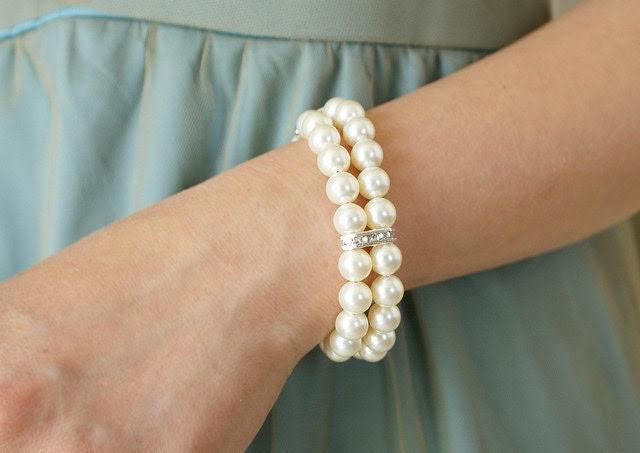 Pearl rhinestone bracelet double strands Swarovski crystal pearl bracelet, wedding jewelry bridal bracelet bridesmaid gifts