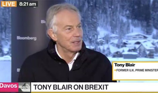 'Complete mess!' Tony Blair TEARS into Brexit and calls for SECOND referendum at Davos