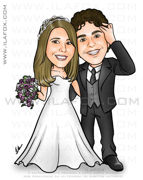 Caricatura colorida, corpo inteiro, colorida, noivos, caricatura para casamento by ila fox