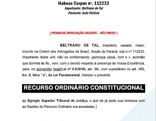 Modelo De Recurso órdinário Dissertação November 2019