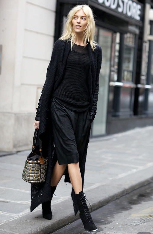 ANJA RUBIK MODEL OFf DUTY STREET STYLE LONG BLACK CARDIGAN MESH SHEER TOP LEATHER LONG KNEE LENGTH SHORTS EMBELLISHED BUCKET BAG SUEDE ANKLE LACE UP BOOTS PHIL OH FOR VOGUE FASHION STYLE BLOG