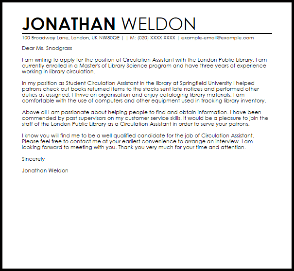Circulation Assistant Cover Letter Sample Cover Letter