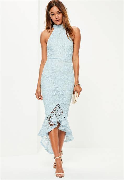Missguided   Blue Lace High Neck Fishtail Midi Dress