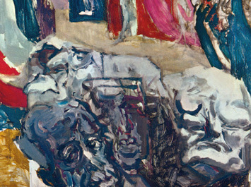 Feliks Topolski's painting of the Coronation of Queen Elizabeth detail with Winston Churchill and I think Louis St. Laurent PM of Canada