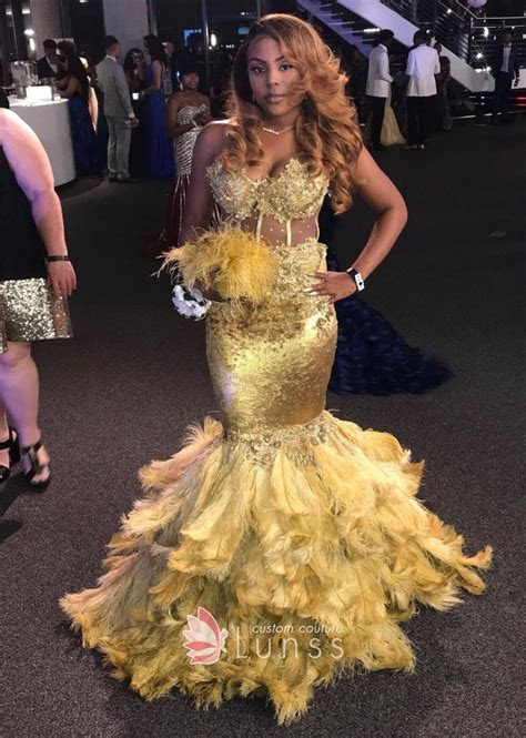 Absolutely Stunning Golden Mermaid Feather Prom Gown