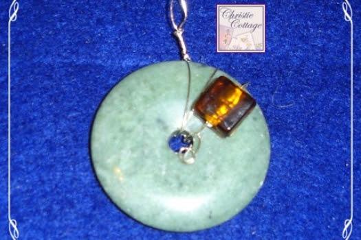 Wire Wrapped Jasper Pendant, Copper Wire, Amber Glass