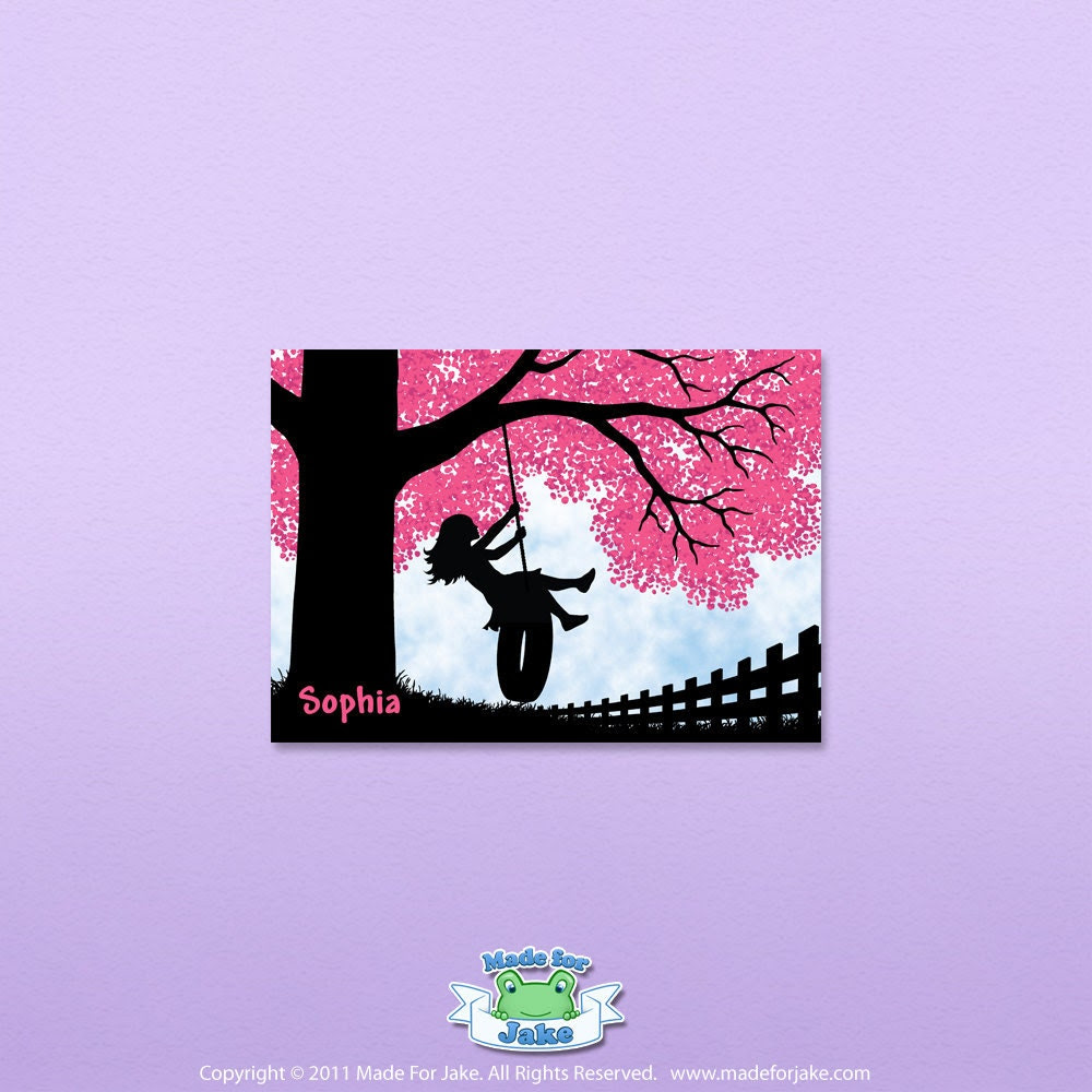 Girl silhouette on tire swing with cherry blossom tree - nursery or child room wall art print - 5x7 Personalized