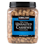 Kirkland Signature Whole Fancy Unsalted Cashews, 2.5 lbs