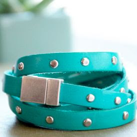 Make this bright and bold studded leather bracelet!