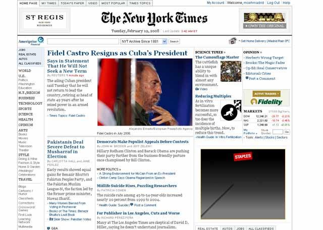 New York Times Castro renuncia