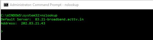 nslookup for default DNS server