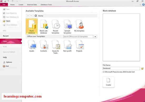 ms accesss 2010 file menu1