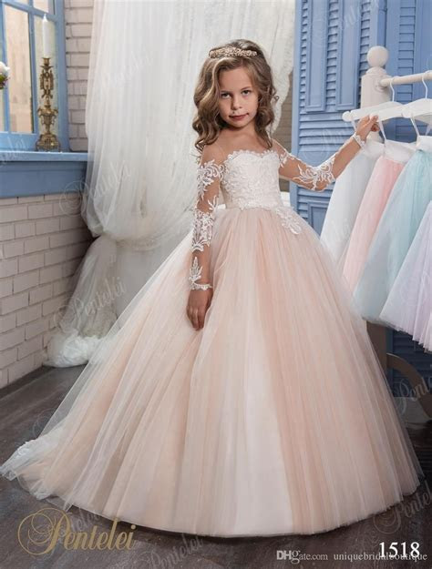 kids wedding dresses  pentelei  illusion long