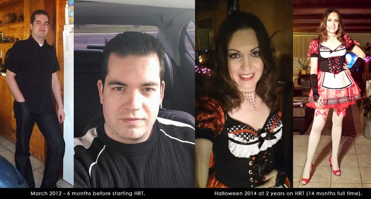 32yo MtF - 2 years HRT... It's been a while since posting here, but after getting dolled up for Halloween, I thought I'd do a little before and after.