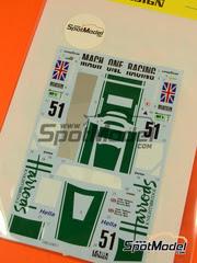 Tabu Design: Calcas escala 1/24 - McLaren F1 GTR Short Tail Harrods Racing Nº 51 - Andy Wallace (GB) + Justin Bell (GB) + Derek Bell (GB) - 24 Horas de Le Mans 1995 - para Fujimi kits FJ126012, FJ125992, FJ126029
