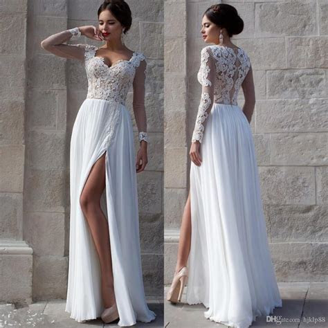 White Beach Wedding Dresses 2015 Lace Bridal Gowns