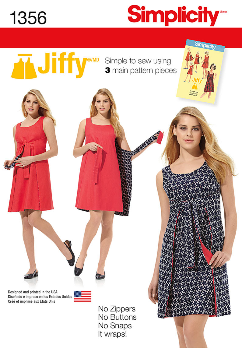 Simplicity Misses' Jiffy® Reversible Wrap Dress 1356