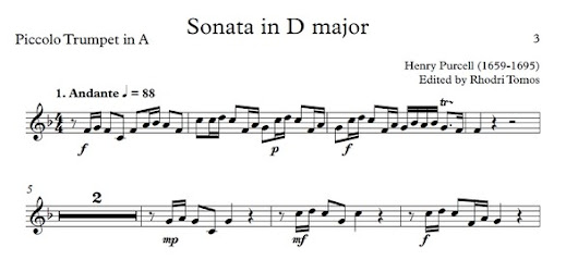 Purcell Sonata in D major for Trumpet and Strings - sheet music and play along accompaniment