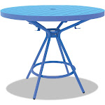 "Safco CoGo Tables Steel Round 36"" Diameter x 29 1/2"" High Blue"