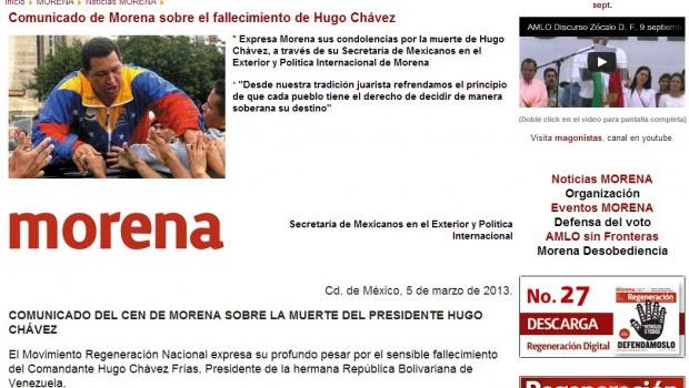 Morena expresa condolencias al pueblo venezolano por la muerte de Hugo Chávez