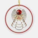 Personalize: Red Filigree Merry Christmas Angel Double-Sided Ceramic Round Christmas Ornament