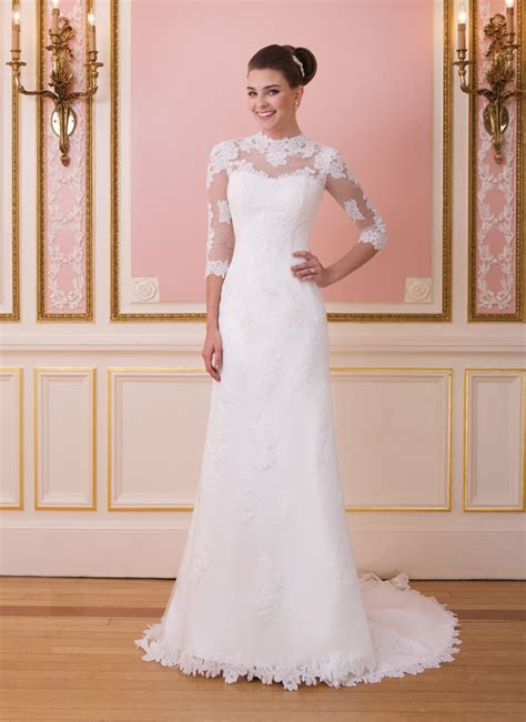 New Arrival Modest High Neck Lace Wedding Dress with