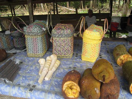 weave basket and jackfruit