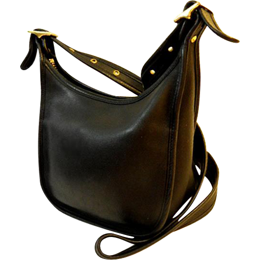 Vintage COACH Black Glove Tanned Leather Shoulder Bag Brass Buckles made in 1992 from Newprairiestore at Ruby Lane