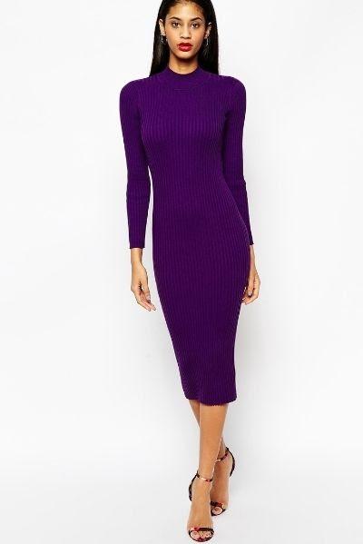 ASOS Midi Dress In Rib Knit With Turtleneck