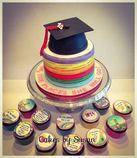 """""""Oh, the places she will go!"""" cake and cupcakes for a high"""