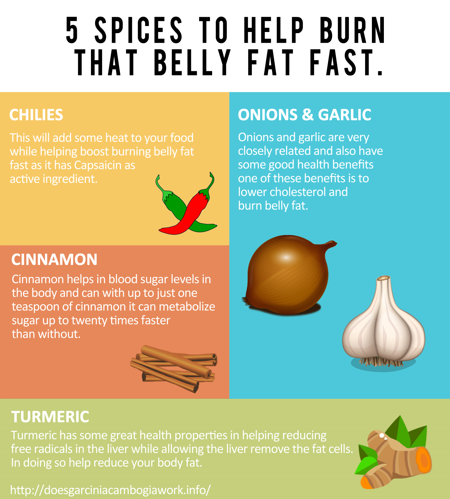5 Spices That Help To Burn That Belly Fat Fast #infographic