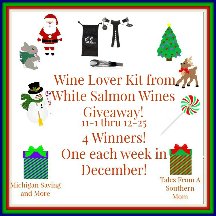 Enter to win the White Salmon Wines Wine Lover Kit Giveaway. Ends 12/25