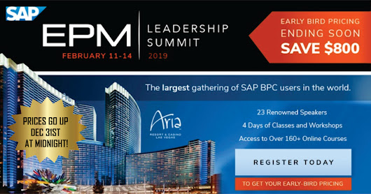 THE 2019 EPM LEADERSHIP SUMMIT FEB 11-14 ARIA LAS VEGAS - WHAT'S NEW? A VIP EPM TRANSFORMATION WORKSHOP EXPERIENCE