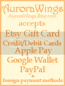 Now accepting Etsy Gift Cards, credit and debit cards, Apple Pay, Google Wallet, PayPal, and other foreign payment methods at AW Etsy.