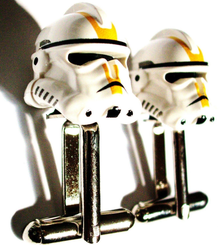 LAST PAIR- LEGO Star Wars Yellow Storm Trooper Helmet Cufflinks -FREE GIFT BAG- Retro Man Guys Dad Fun Gift 80's Dork Boy Groom Groomsmen Fathers day